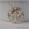 Mother's Day Swarovski Pearl Handmade Twisted Wire Tree Necklace-Peach & Mauve