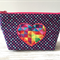 Fabric case with heart appliqué - Navy blue with polka dots