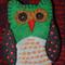 Green/Black/Grey Embroidered Felt Owl Brooch