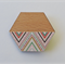 Hexagon Wooden Brooch with a Multicoloured Chevron Detail