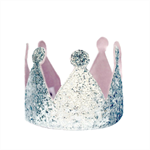 Crown Silver Glitter and Pink  - Birthday Party - Photo Prop