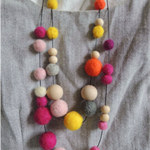 Handmade Felt Wool Ball & Natural Wooden Bead Mix Necklace Two Colours Available