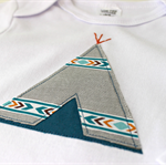 tribal teepee | baby boy onesie | applique | gift