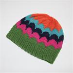 Hand Knitted Rainbow Scallop Beanie / Hat