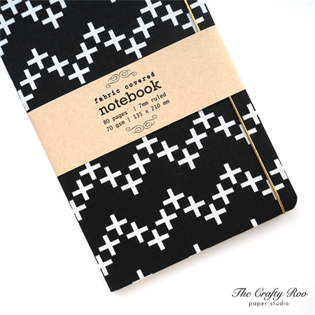 Black Chevron Plus Fabric Covered Notebook