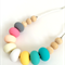 Washable Silicone Donut Bead & Natural Wood Necklace