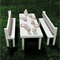 White Glitter Table and 2 Bench Seats With Dining Setting