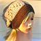 Women's beige and brown crochet hat slouchy wool winter beanie. Winter knit hat