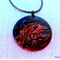 Eagle - handpainted focal wooden pendant, brown leather cord necklace, art