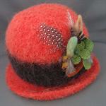 Burnt Orange Felted Cloche  Hat