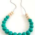 Washable Silicone & Natural Wood Necklace - Peacock