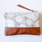 Lace and leather, clutch, zipper pouch