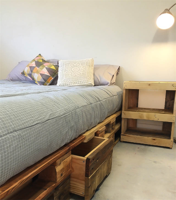 pallet bed base queen with storage space rustic