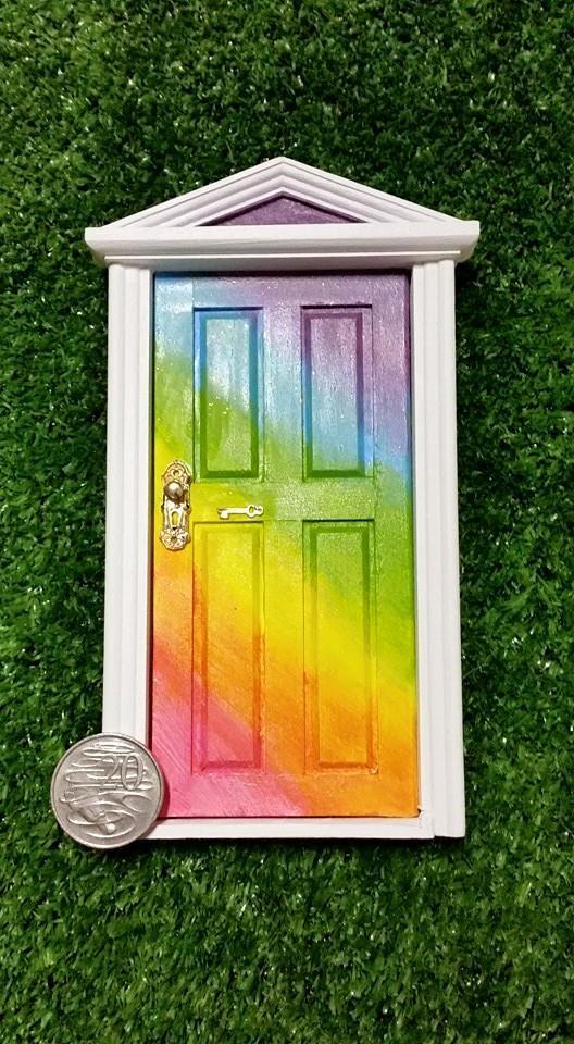 Rainbow fairy door opening door with mirror behind made to for Rainbow fairy door