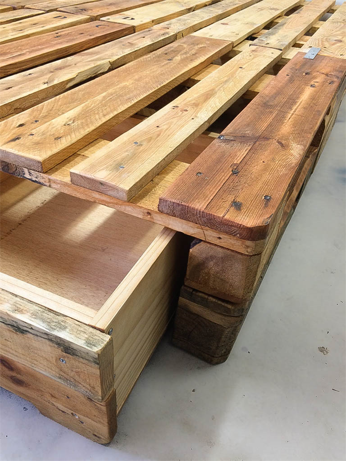 Pallet Bed Base Queen With Storage Space Rustic Minimal Hand
