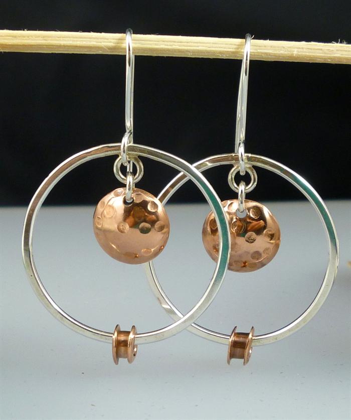 sterling silver and copper hoop earrings mixed metal