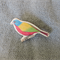 Colourful Bird Wooden Brooch Pin