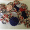 24 x Ast red/ white and blue print fabric yoyos for singlets / accessories