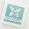 Happy Birthday laser cut butterfly with paper rose aqua teal polka dot her card