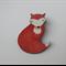 Wooden Fox Brooch, Gentle Fox