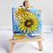 Flower with lemon yellow hues and aqua blue background mini mixed media canvas