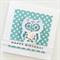 Happy Birthday owl white lasercut aqua teal polka dot her daughter sister card