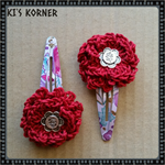 Hair accessories - 2 crochet flower snap hair clips