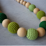 Organic Wood Bead Necklace / Teething Necklace / Greens / Crochet Beads