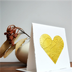 🔴Embossed Gold Leaf Love Heart Square Gift Card Valentine Wedding Mothers Day
