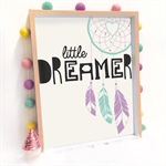Little Dreamer Print Art Print Decor Baby Nursery Kid Dreamcatcher Feather