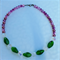 Shades of Purple & Green Glass Beaded Necklace