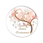 Pocket mirror - pink tree  - add your text