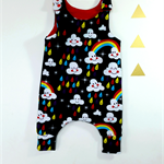 Harem romper baby neutral gender cloud rain rainbow