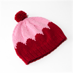 Hand Knitted Red & Pink Scalloped Beanie / Hat
