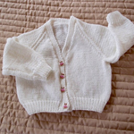 SIZE 1-2 yrs  - Hand knitted cardigan- white with metalic thread (girl)