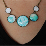 Aqua Toned and Varied Design Statement Necklace.