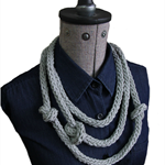 """Hand Knitted Grey Necklace: """"Chopstick Necklace"""""""
