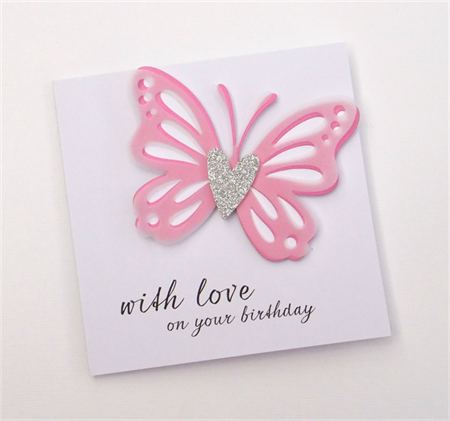 with love on your birthday - Pink butterfly