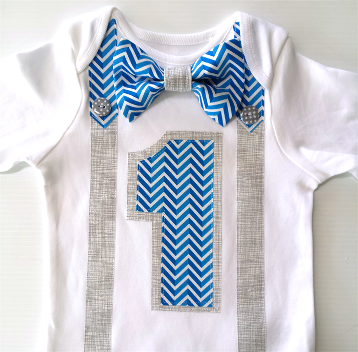 First Birthday Outfit Baby Boy Onesie Blue Chevron Bow Tie Onesie