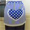 Half Apron Spots & Stripes white/blue - womens lined apron with fun heart pocket