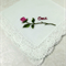 Embroidered Rose Handkerchief, Hanky Gift for Oma, with beautiful Lace Edge.