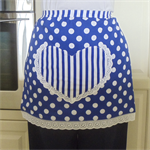 Half Apron Spots & Stripes blue/white - womens lined apron with fun heart pocket
