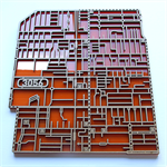 Laser cut, street map of Brunswick 3056, Victoria in MDF & coloured acrylic.