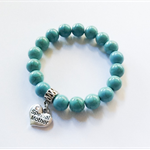 Turquoise Howlite Bracelet with Silver 'Special Mother' Heart