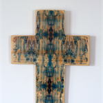 Large Wooden Cross with Abstract Photo Image