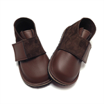 Brown leather and suede handmade shoes for children and toddlers