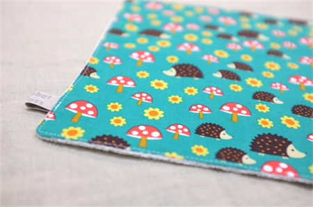 wash or burp cloth - hedgehogs / green red eco teal organic cotton bamboo