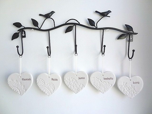 Family wall hanging. Personalised gift. Family tree. Ceramic wall art.