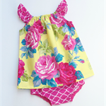 Sunny Vintage Rose Flutter Top  & Bloomers - Pink, Yellow, nappy pants