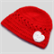 crochet baby beanie | red with white heart | shower gift | newborn - 3+ months
